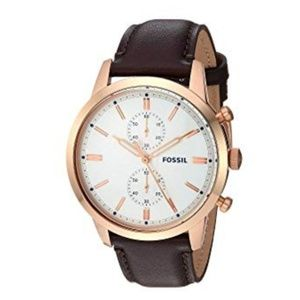 New Mens Fossil watch with brown leather strap